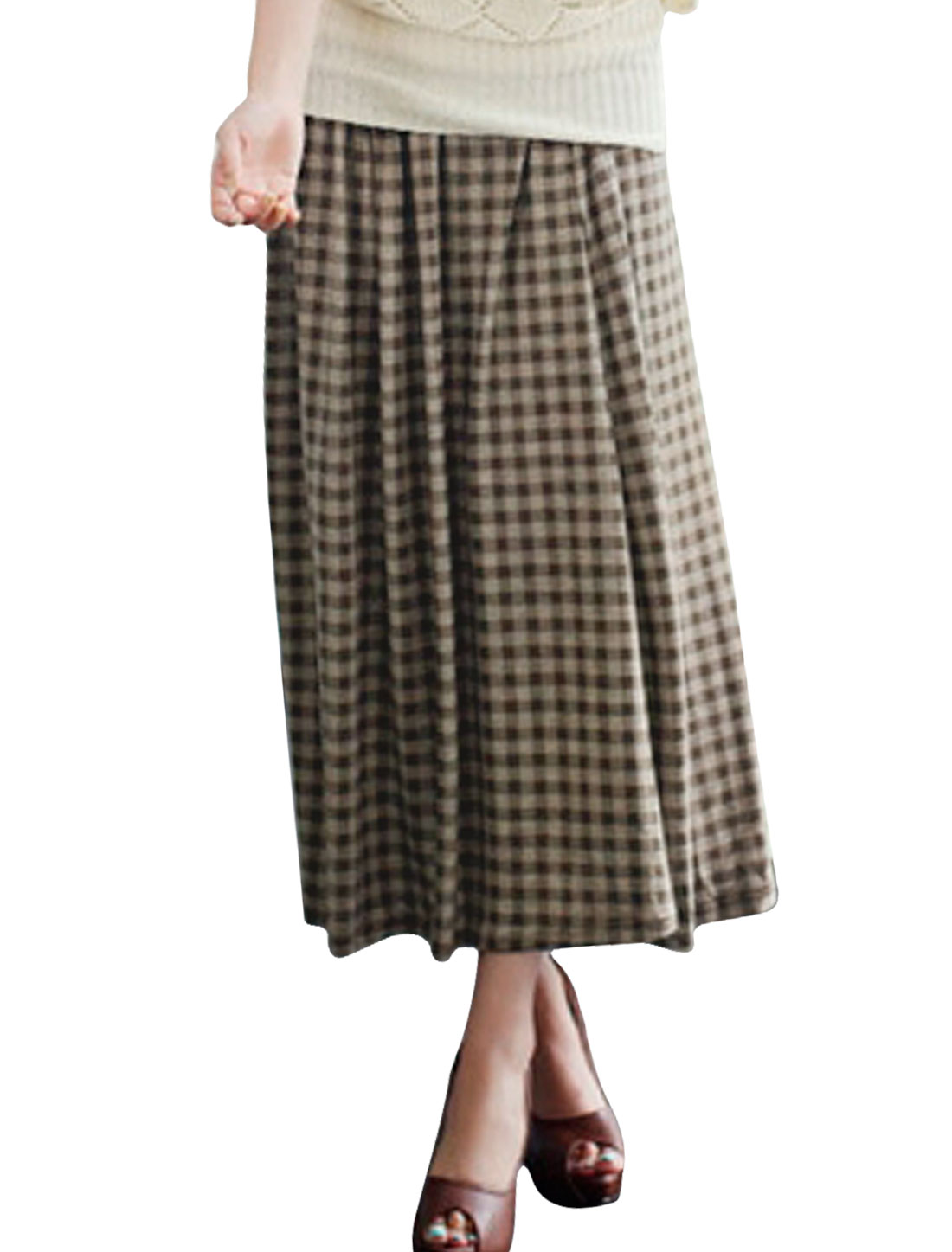 Ladies Apricot Coffee Color Elastic Waist Plaids Pattern Casual Long Skirt Xs