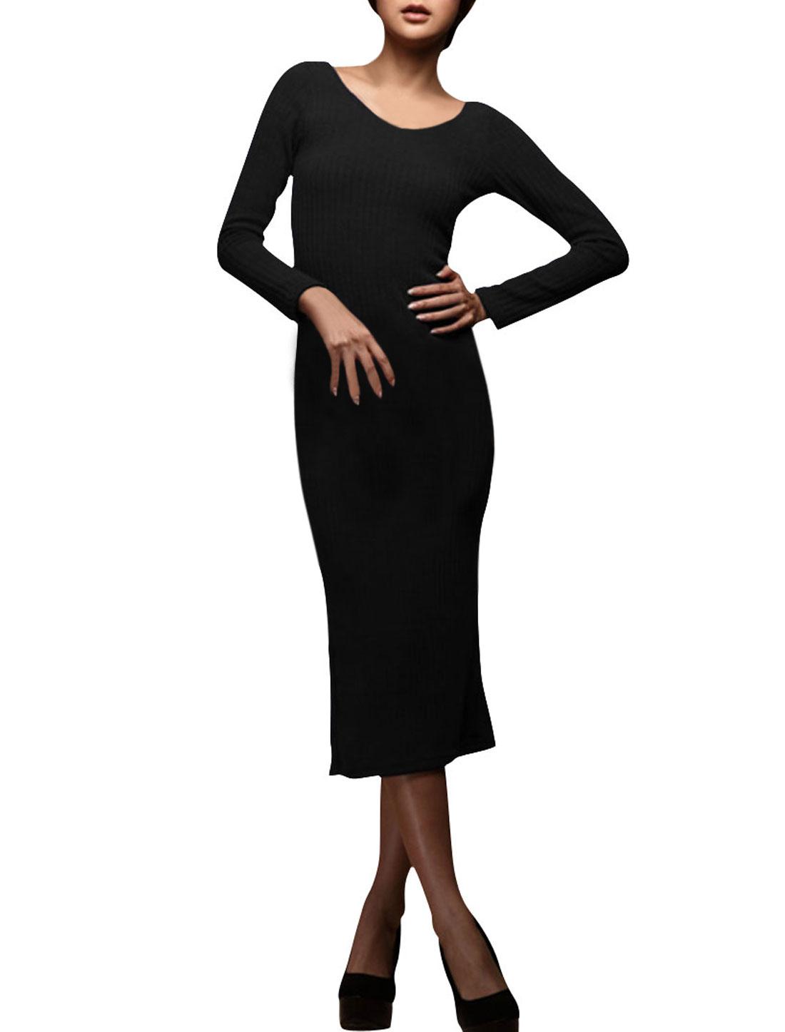 Lady Black Double V Neck Long Sleeve Ribbing Design Zipper Hem Mid-calf Dress Xs