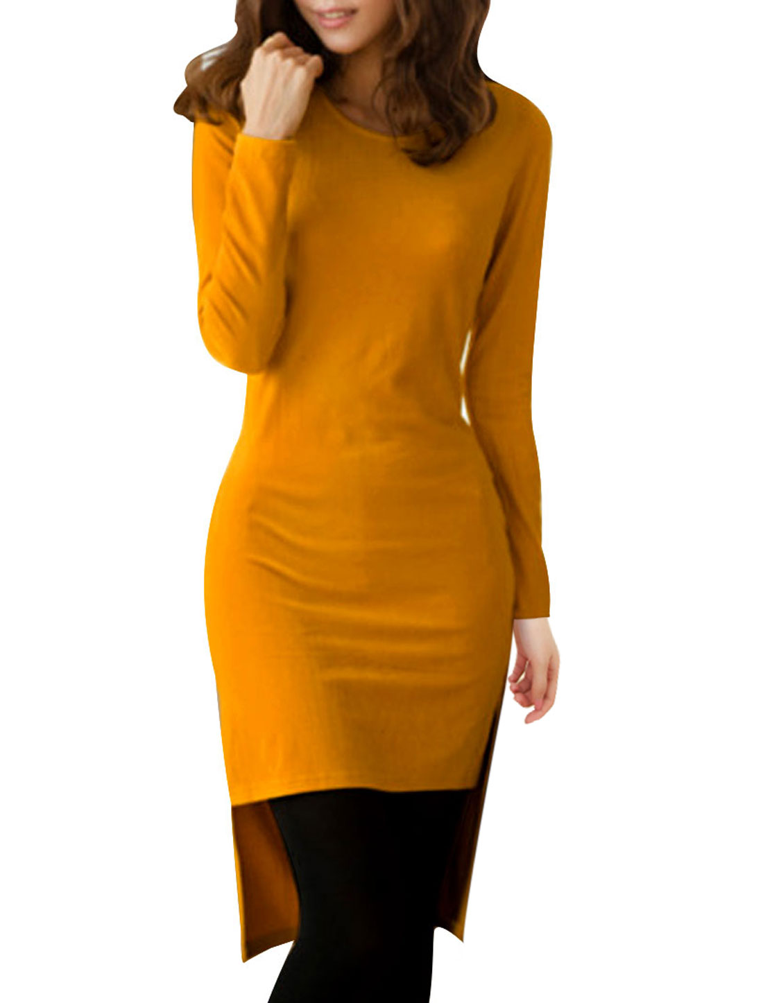 Ladies Yellow Long Sleeve High Low Hem Pullover Design Slim Tunic Shirt Xs