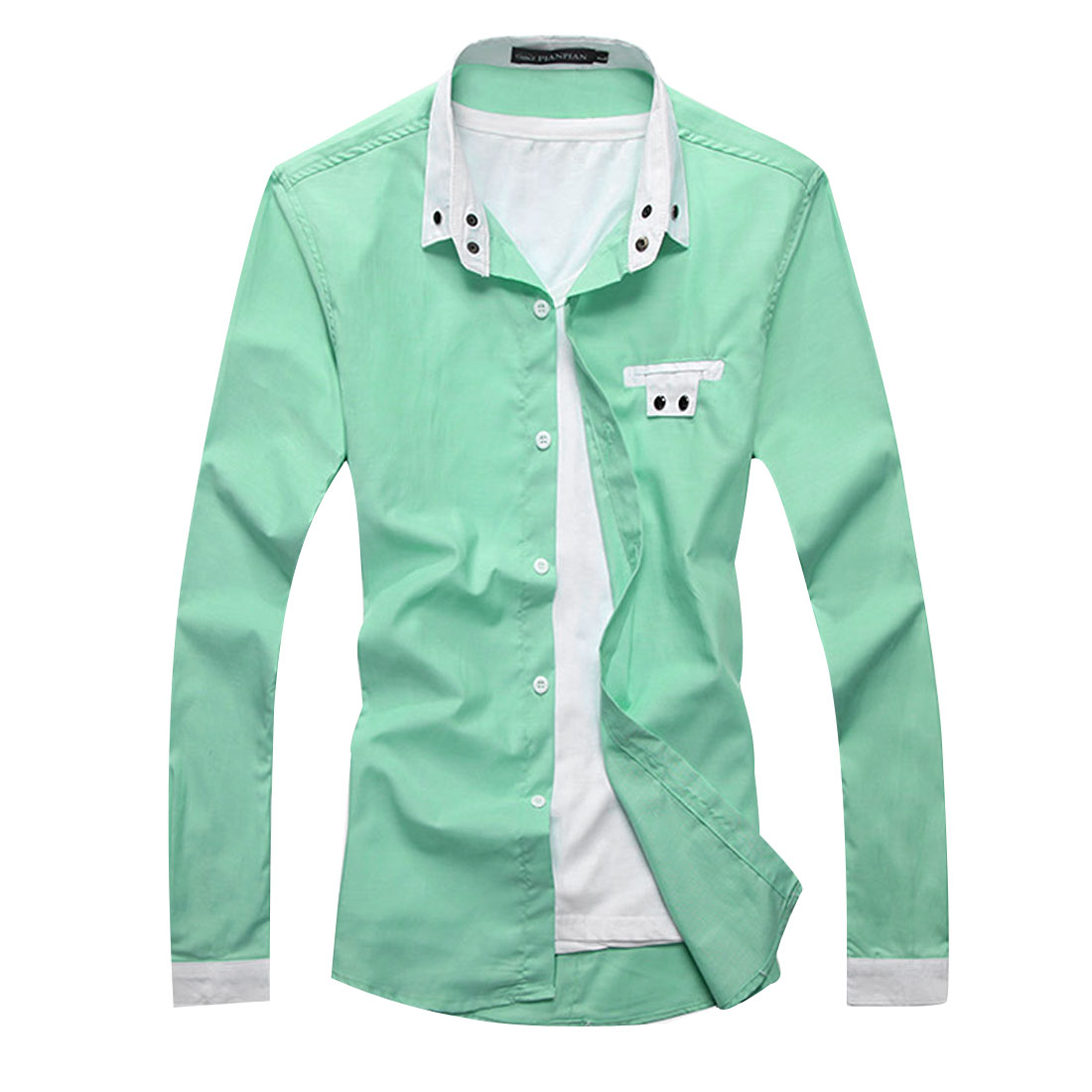 Stylish Solid Color Light Green Long SLeeve Snap Cuff Casual Shirt For Man S