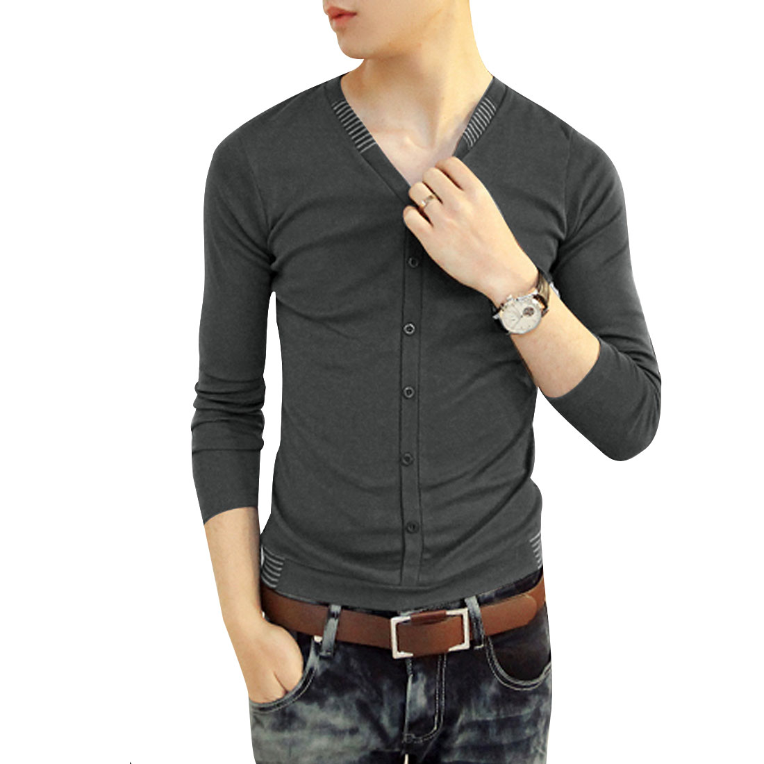 Leisure Men Long Sleeve Button Up V Neck Stretch Dark Gray Slim Top S