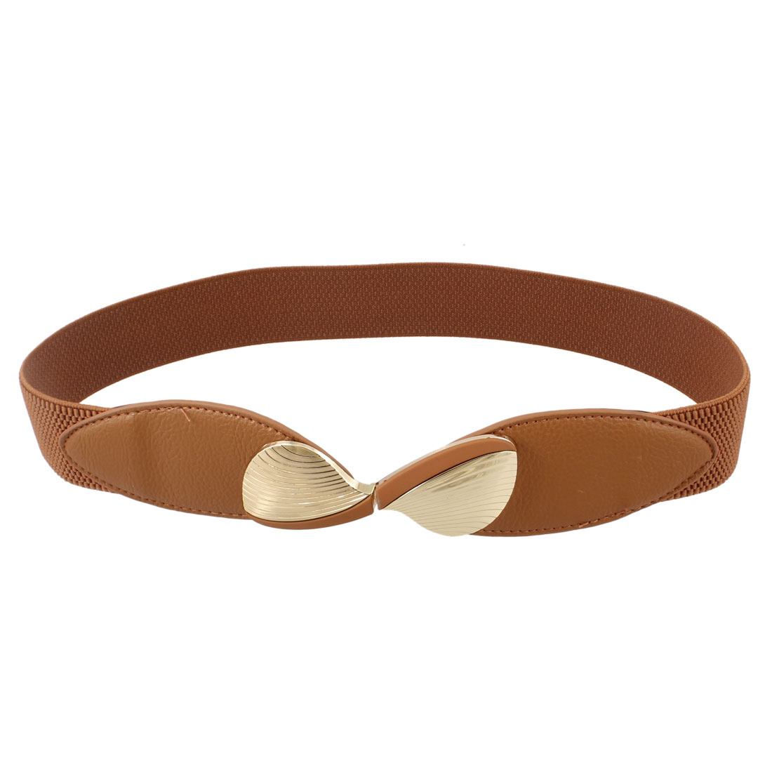 Metal Fanshaped Interlocking Buckle Stretchy Waistband Belt Brown for Women