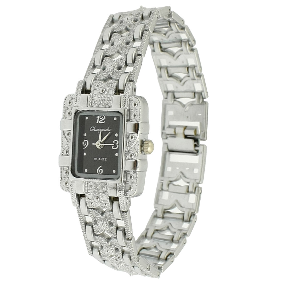 Lady Silver Tone Hollow Out Design Band Black Rectangle Dial Case Wrist Watch