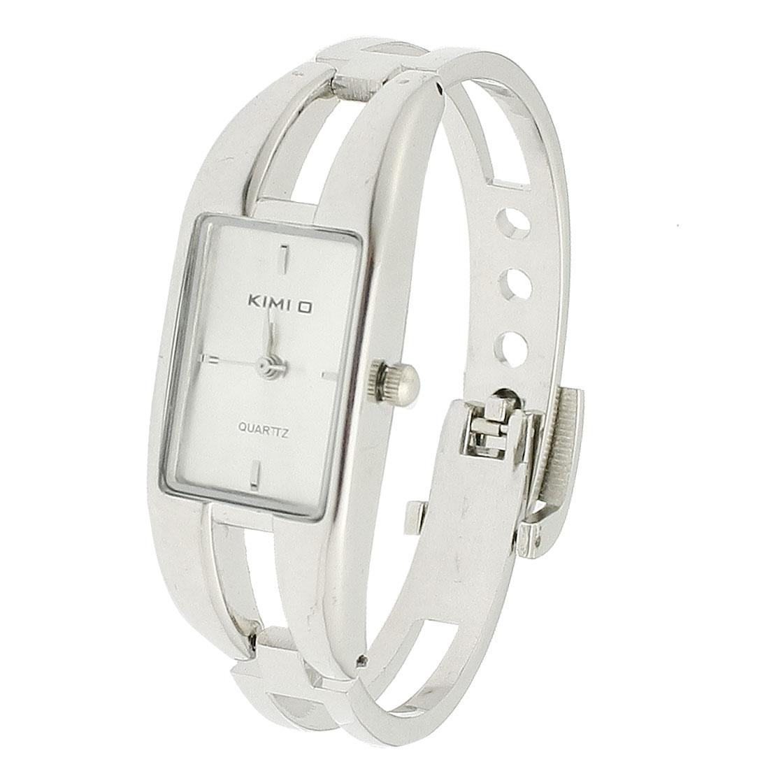 Lady Silver Tone Hollow Design Band Rectangle Case Quartz Bracelet Wrist Watch