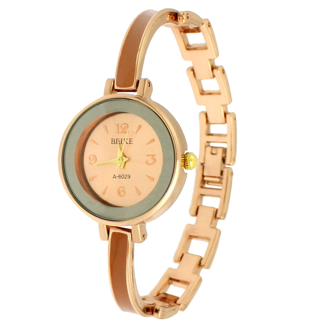 Round Dial Case Copper Tone Hollow Design Wristband Quartz Watch for Lady