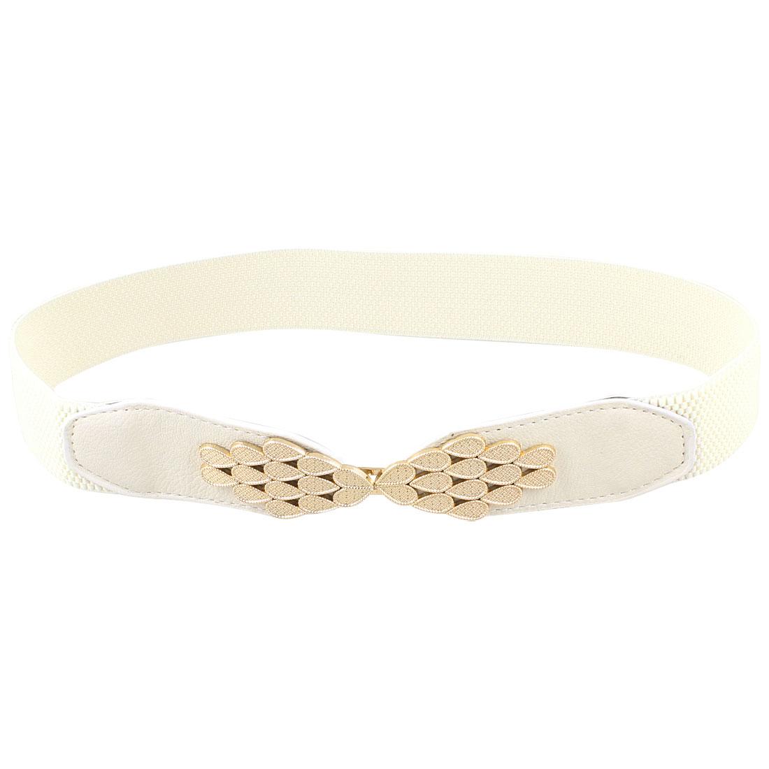 Lady Women Waterdrop Adorning Interlocking Buckle Stretchy Waist Belt White
