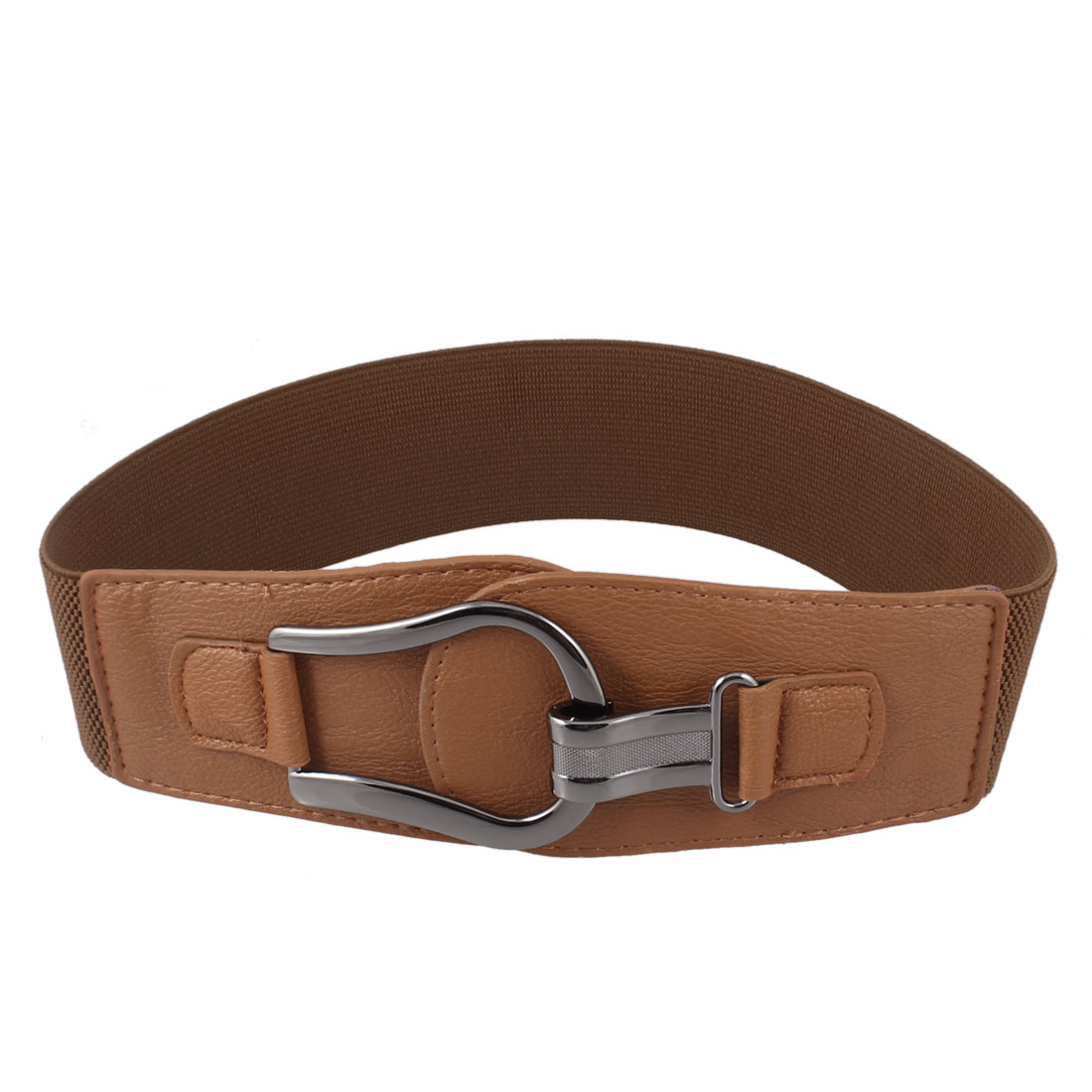 Lady Woman Gray Hook Shape Faux Leather Stretchy Waistband Belt Brown