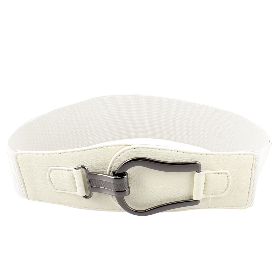 Lady Woman Gray Hook Shape Faux Leather Stretchy Waistband Belt Beige