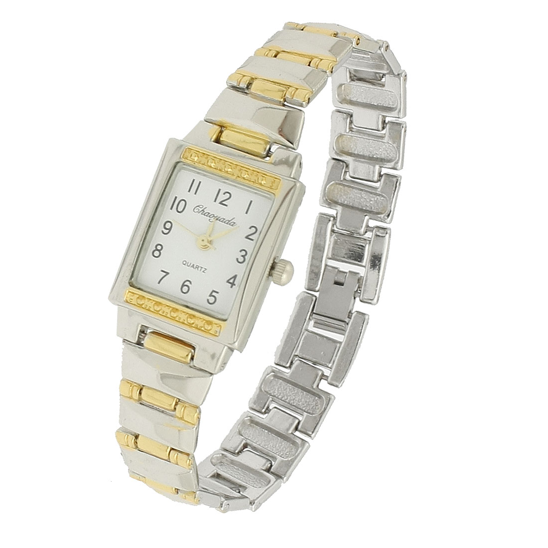 "Women Rectangle Dial Case Silver Gold Tone Band Wrist Quartz Watch 0.5"" Width"