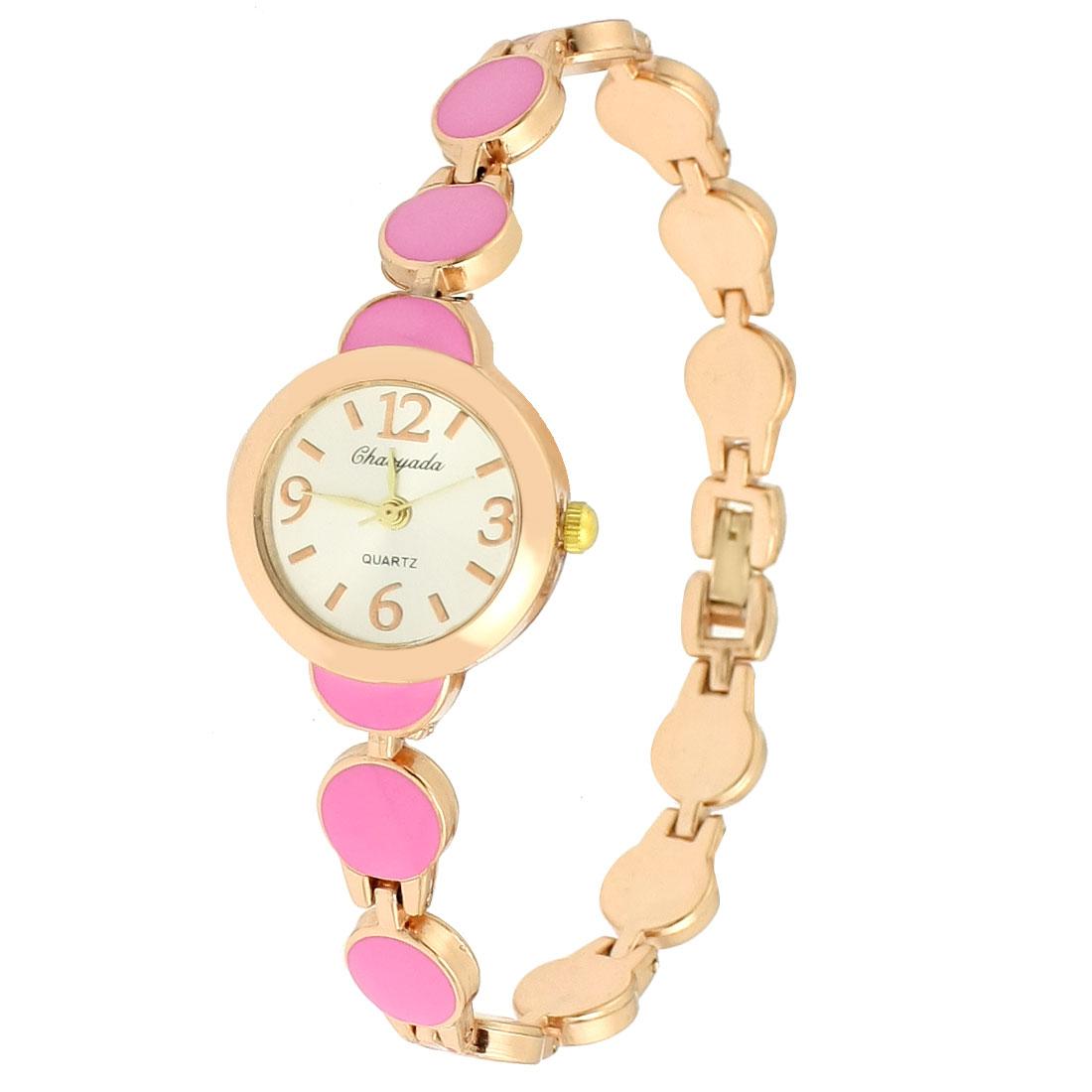 Women Pink Copper Tone Chain Round Dial Case Wrist Wristwatch Quartz Watch