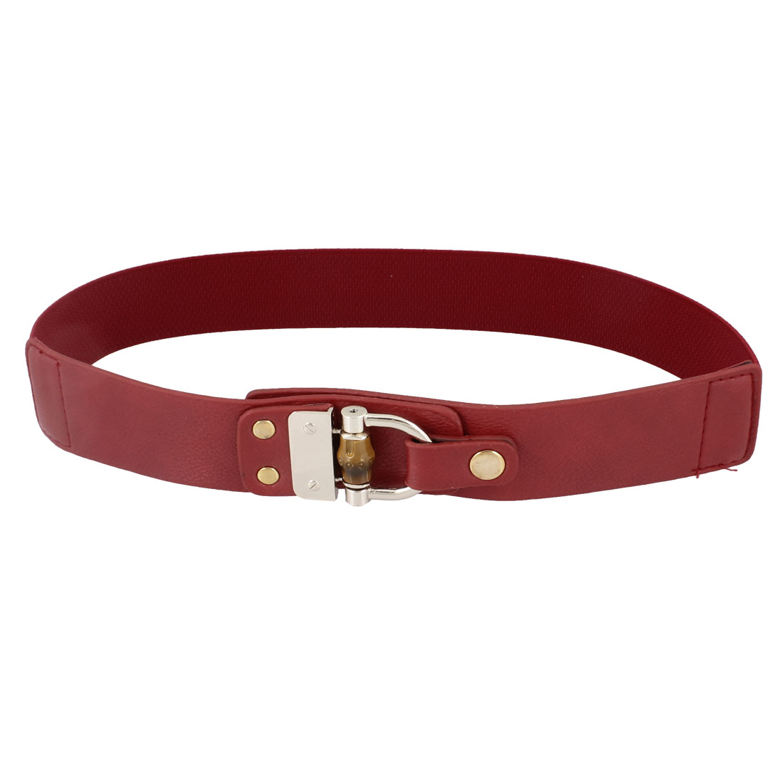 Ladies Metal Accent Faux Leather Press Button Elastic Waist Belt Red
