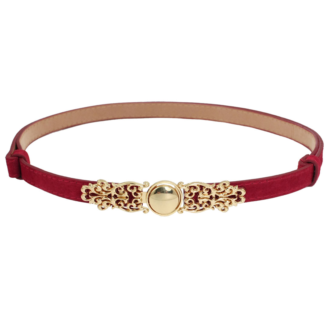 Lady Metal Floral Accent Faux Leather Adjustable Skinny Waist Belt Red