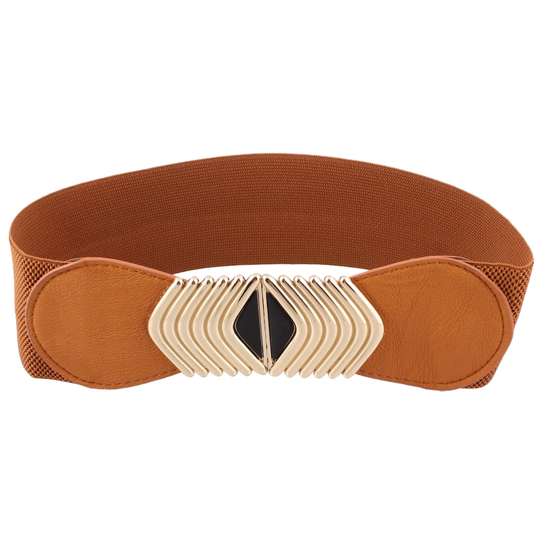 Brown V Shape Metal Accent Interlocking Buckle Elastic Waist Belt for Ladies
