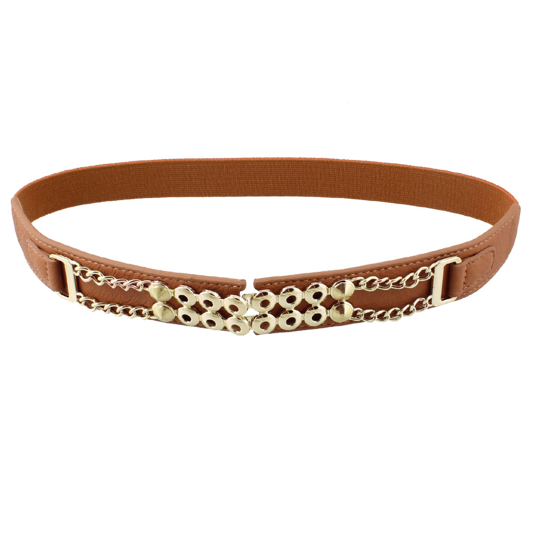 Light Brown Faux Leather Metal Studs Adorning Strecthy Waist Belt for Woman