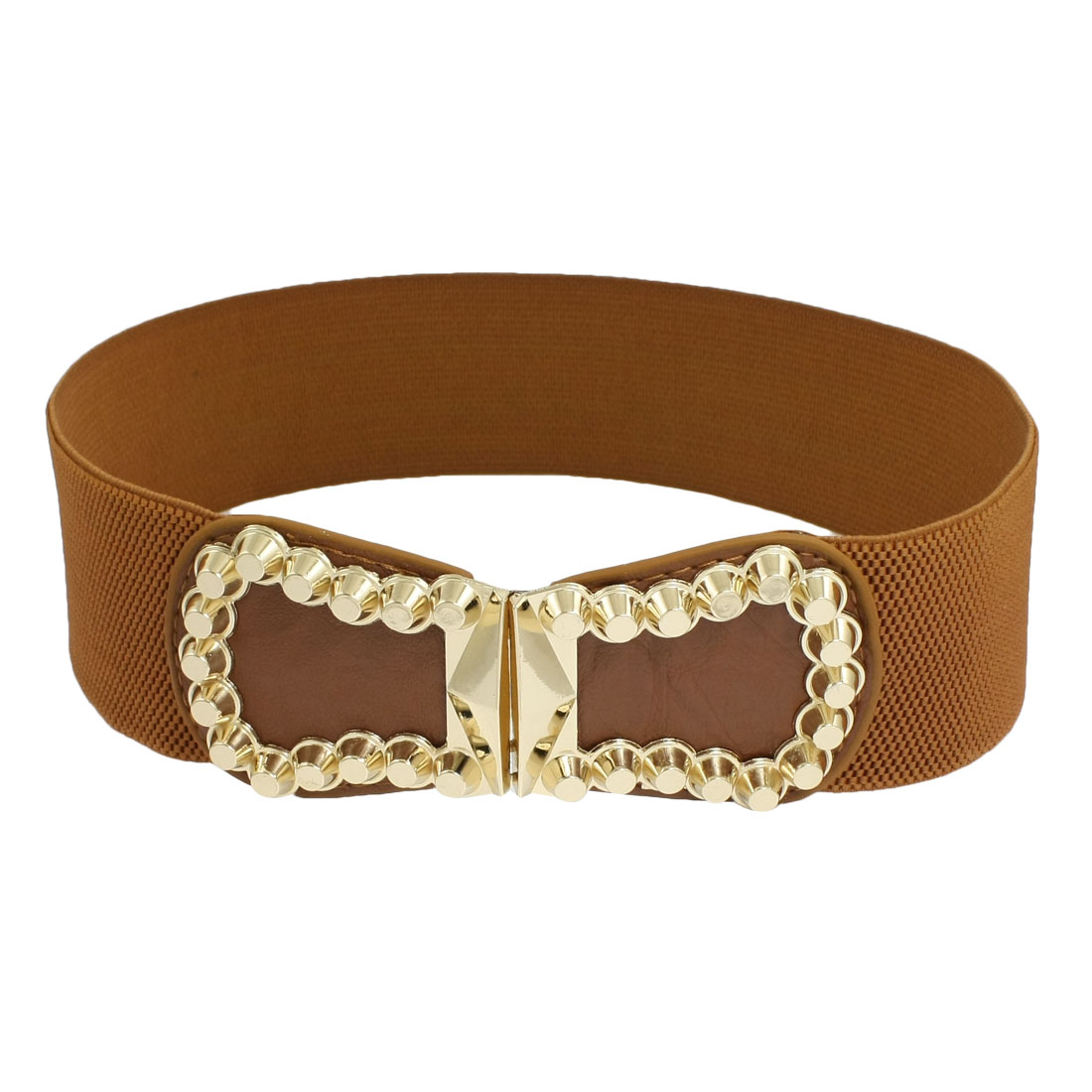 Lady Metal 8 Shape Interlocking Buckle Stretchy Waist Cinch Belt Brown