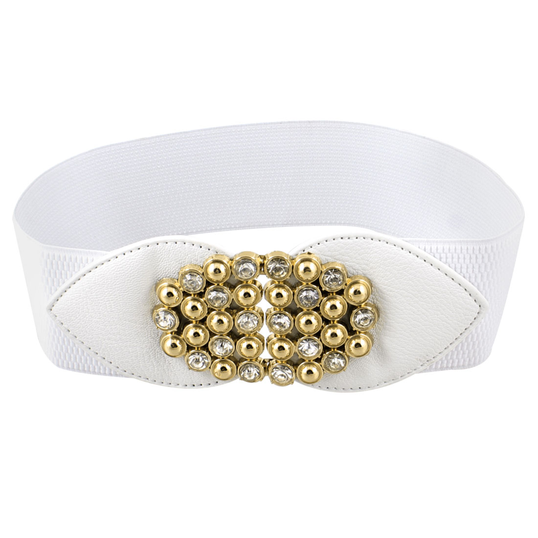 Faux Leather Plastic Rhinestone Decor Stretchy Waist Belt White for Women