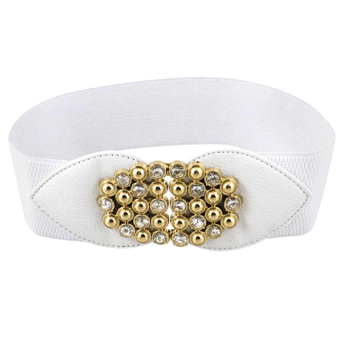 Faux Leather Plastic Rhinestone Decor Stretchy Waist Belt White for Women