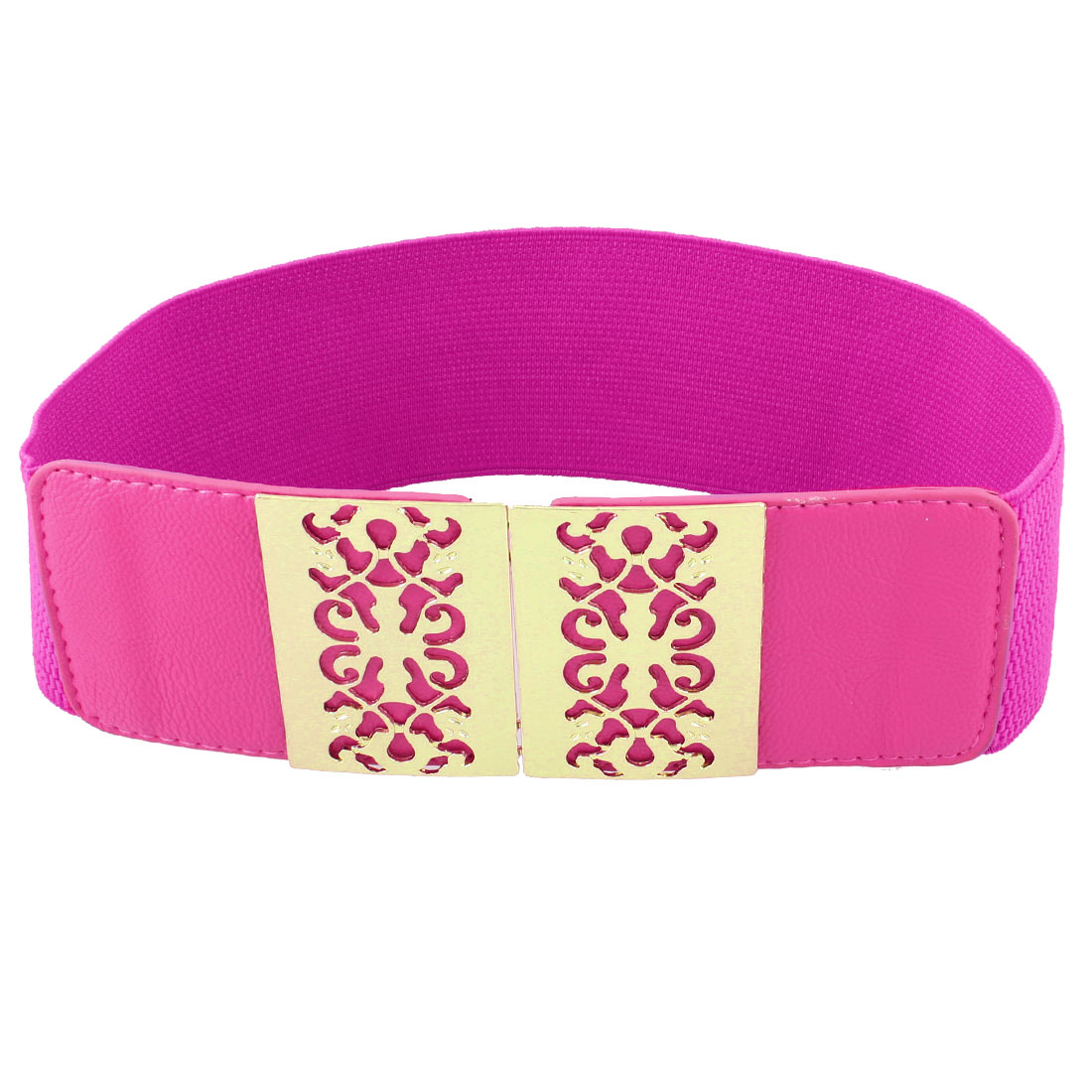 Women Hollow Out Floral Adorning Interlocking Buckle Stretchy Belt Fuchsia