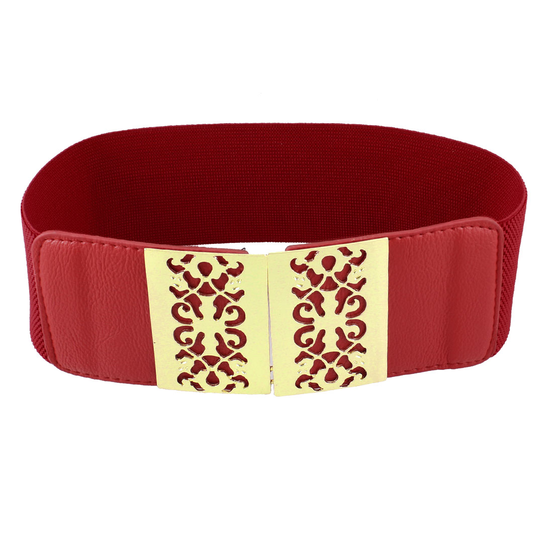Woman Faux Leather Metal Interlocking Buckle Closure Elastic Waist Belt Red
