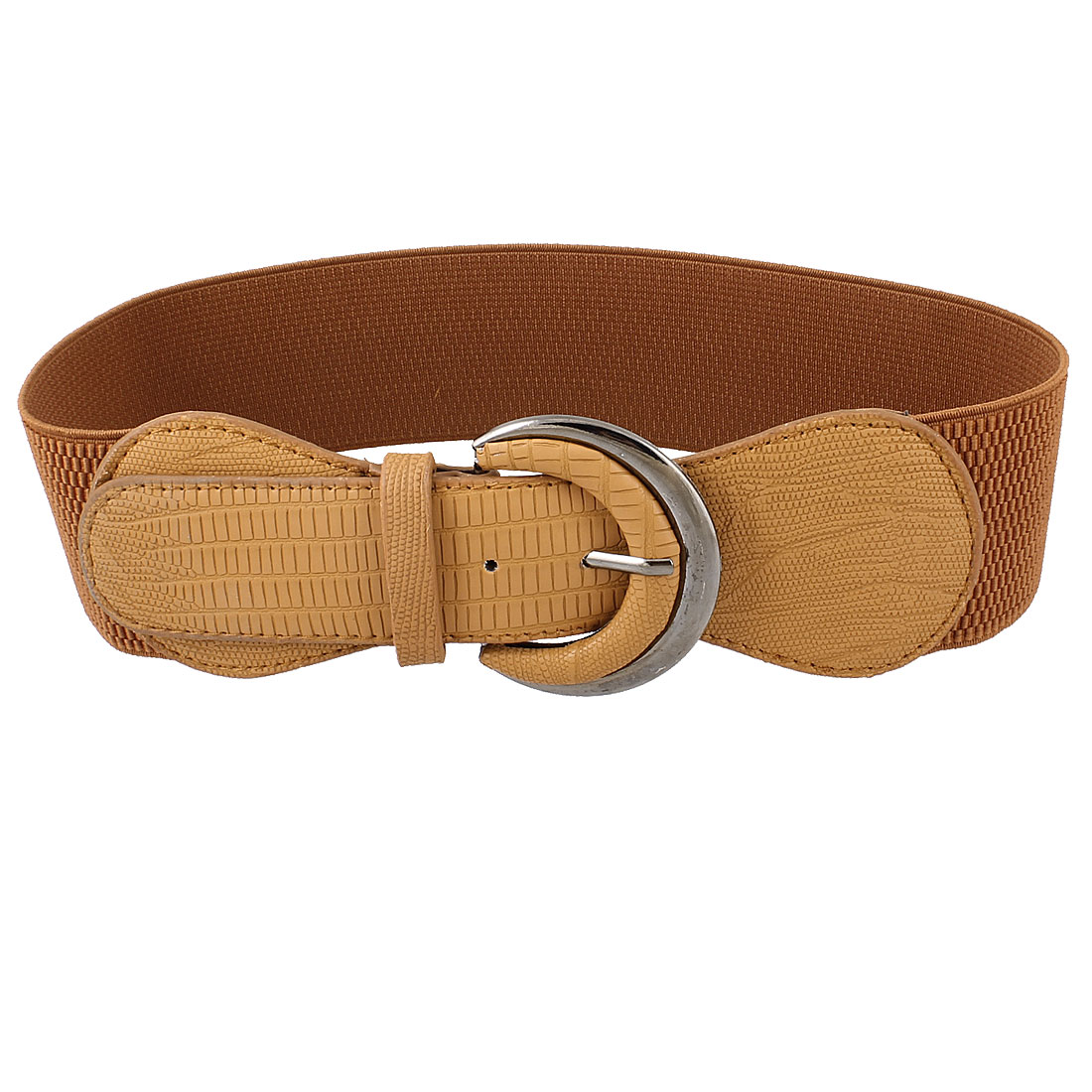 Lady Textured Pattern Single Prong Faux Leather Stretchy Waist Belt Brown