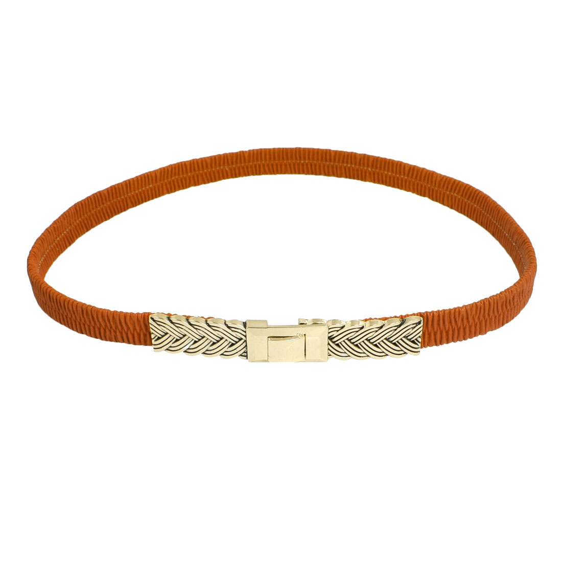 Lady Interlocking Buckle Faux Leather Elastic Dressing Cinch Belt Orange