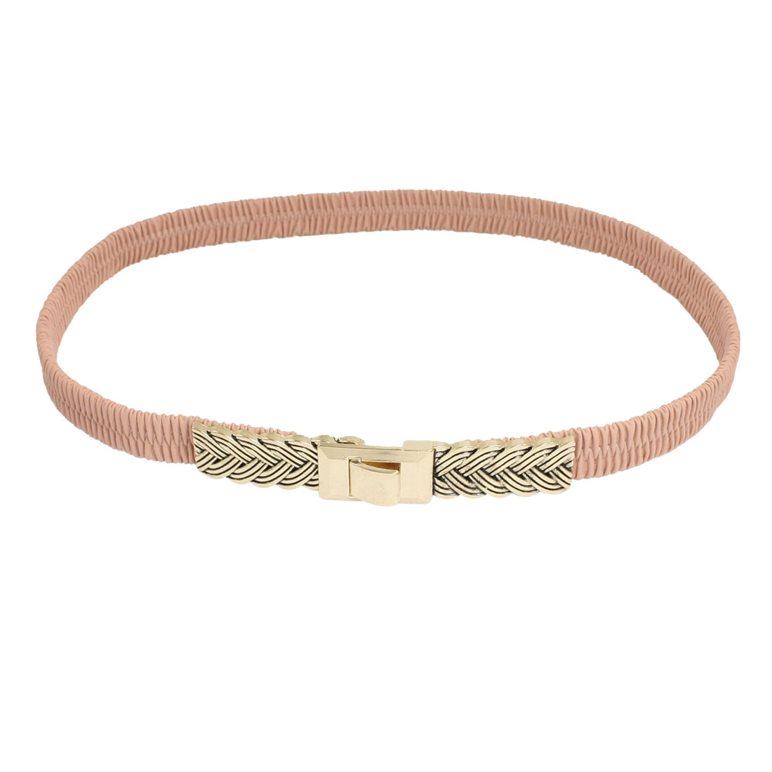 Lady Interlocking Buckle Faux Leather Elastic Band Cinch Belt Pale Pink