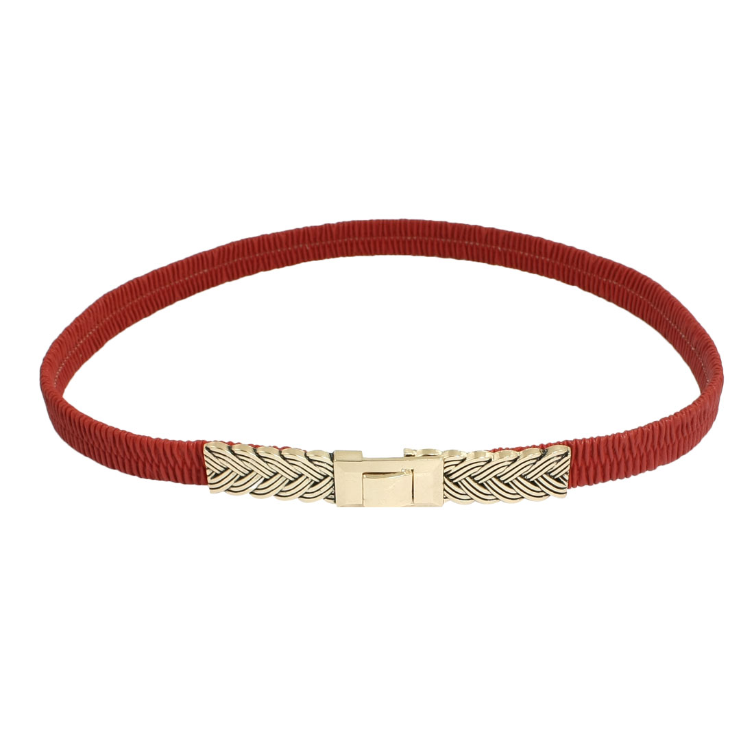 Lady Interlocking Buckle Faux Leather Elastic Dressing Cinch Belt Red