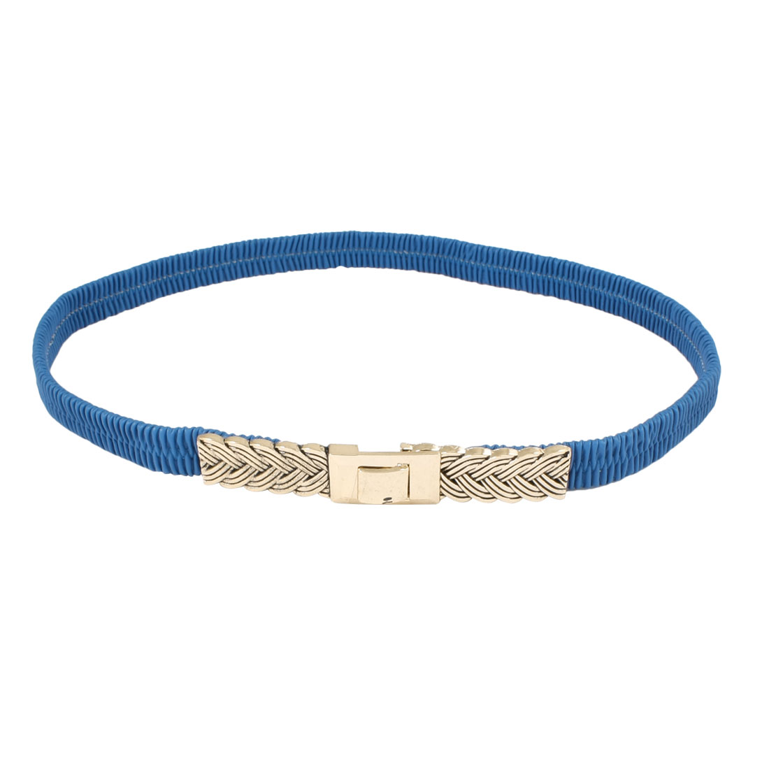 Lady Interlocking Buckle Faux Leather Elastic Dressing Cinch Belt Blue