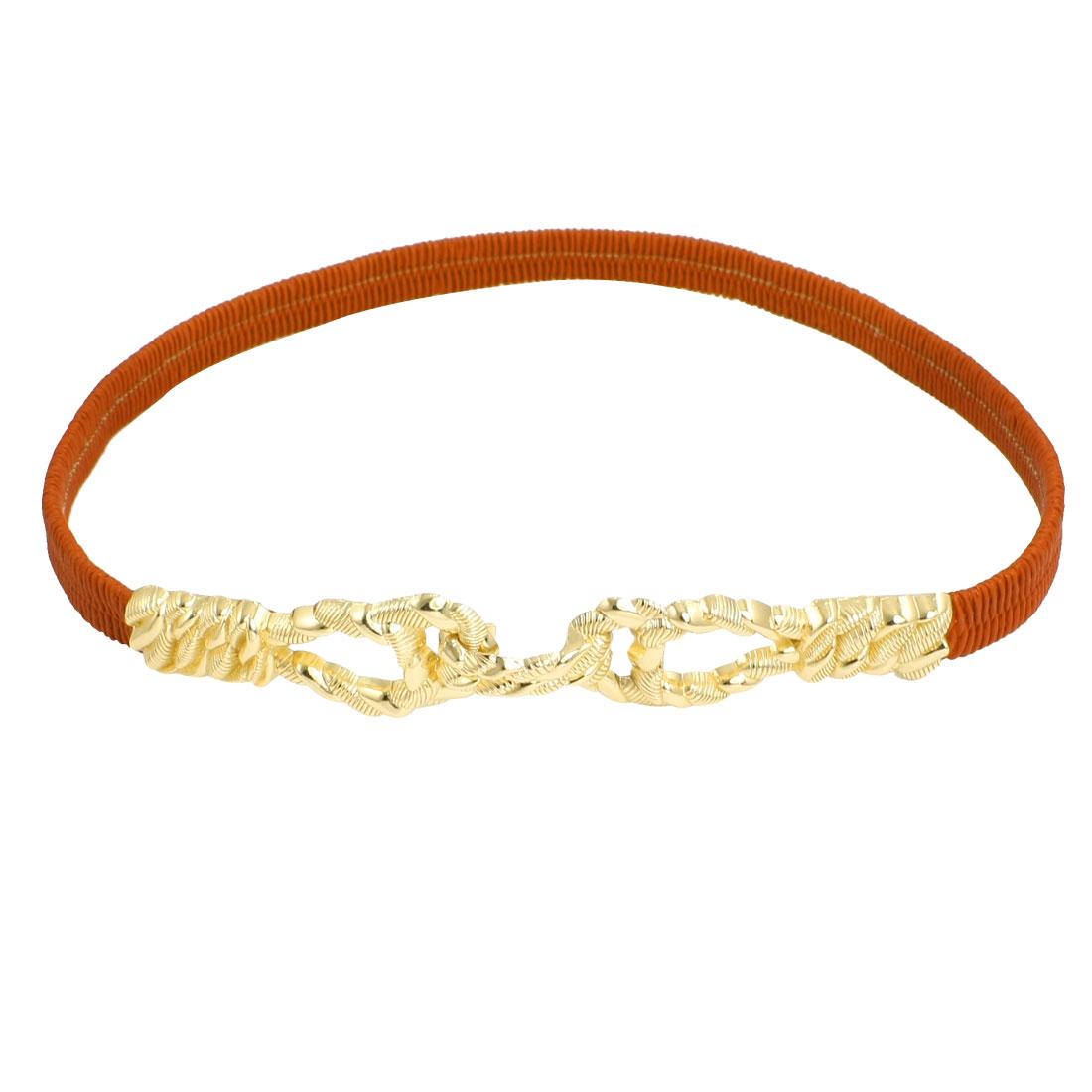 Gold Tone Interlocking Buckle Elastic Band Cinch Belt Orange for Ladies
