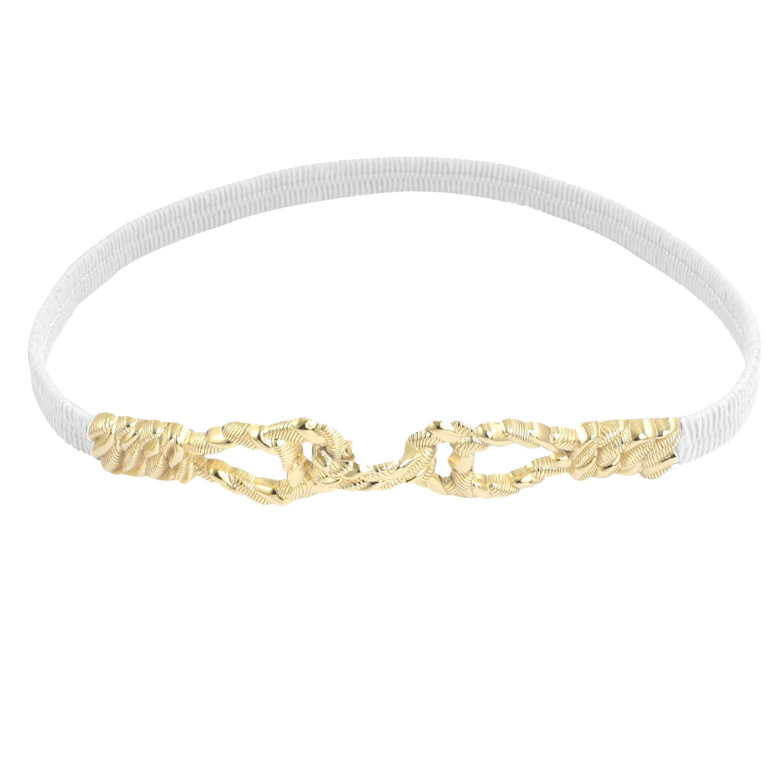 Lady Metal Interlocking Buckle Stretchy Faux Leather Cinch Belt White