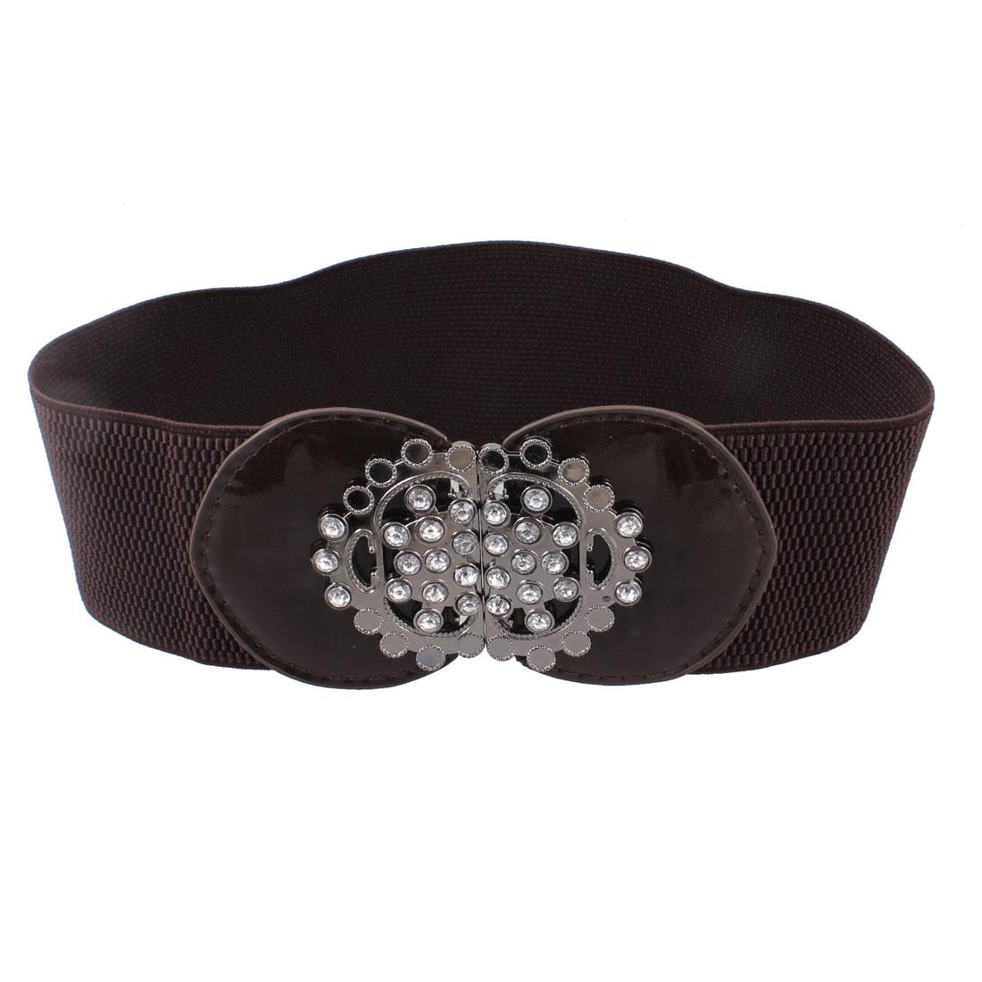 Ladies Metal Floral Accent Interlocking Buckle Elastic Blouse Belt Coffee Color