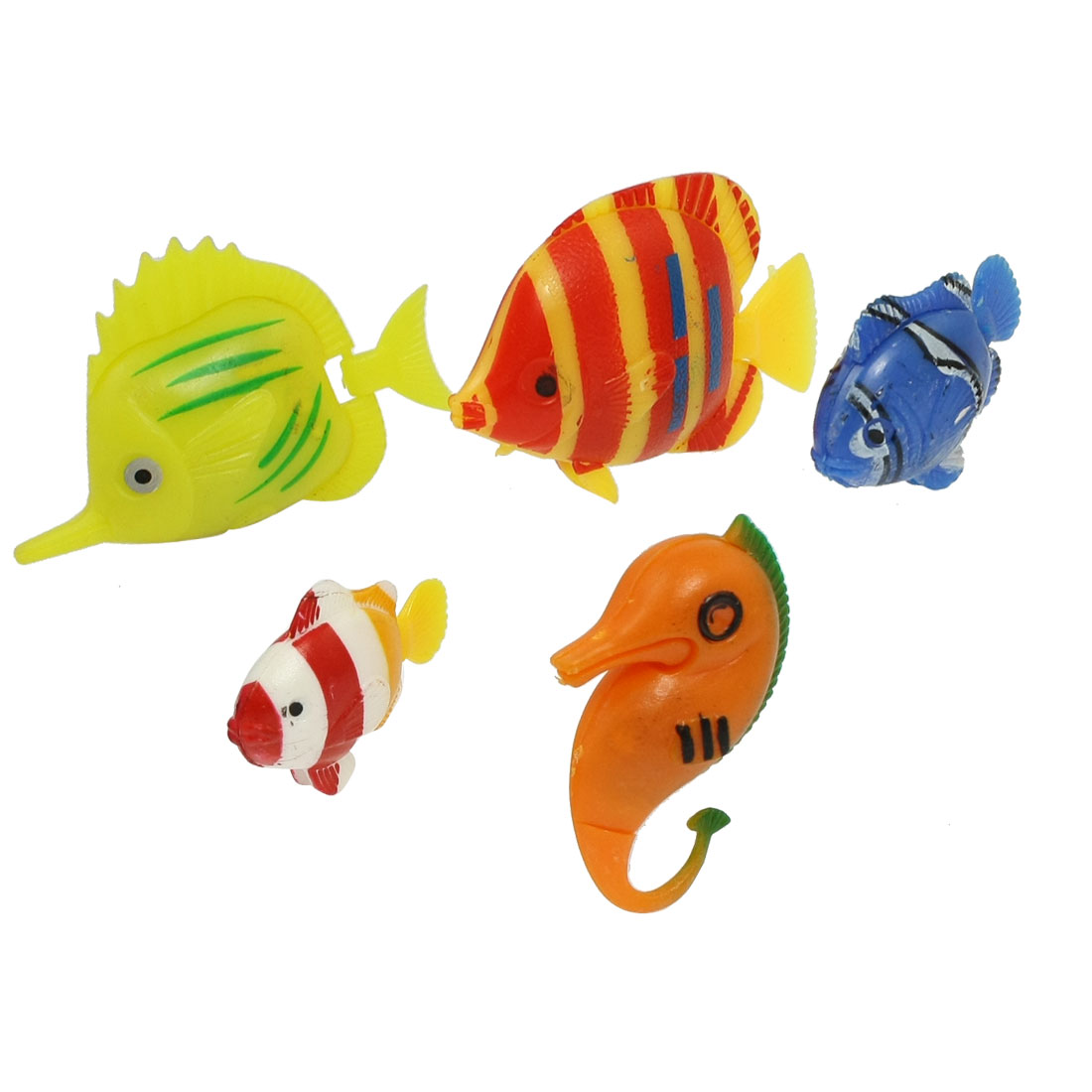 5 Pcs Multicolored Swing Tail Floating Plastic Seahorse Fish Ornament for Aquarium