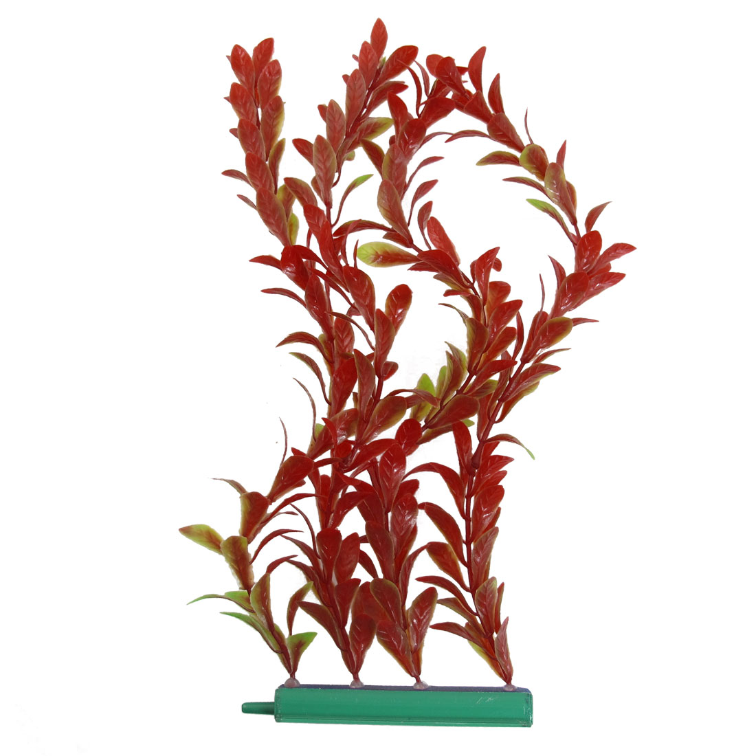 30cm Height Red Plastic Artificial Grass Water Plant Decoration w Air Stone