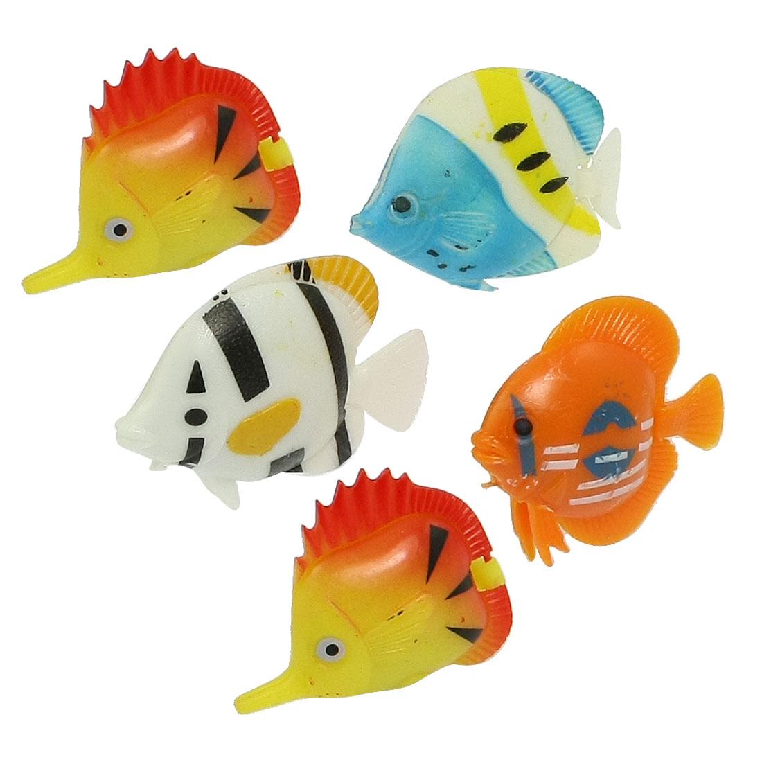 5 Pcs Strips Printed Assorted Color Plastic Fishes for Aquarium