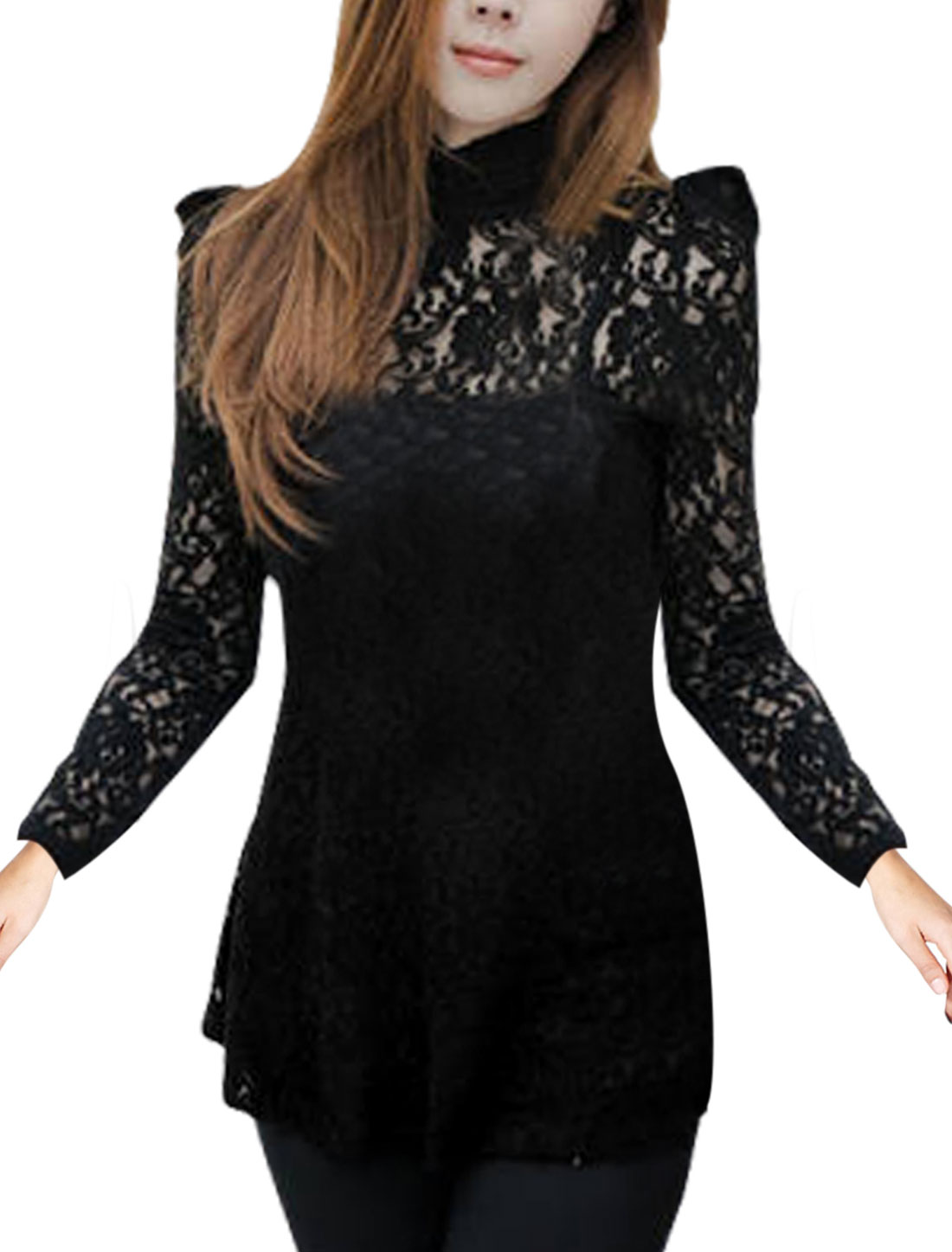Sexy Ladies Back Toggle Closure Lace Stretchy Semi Sheer Sleeve Shirt Black Xs