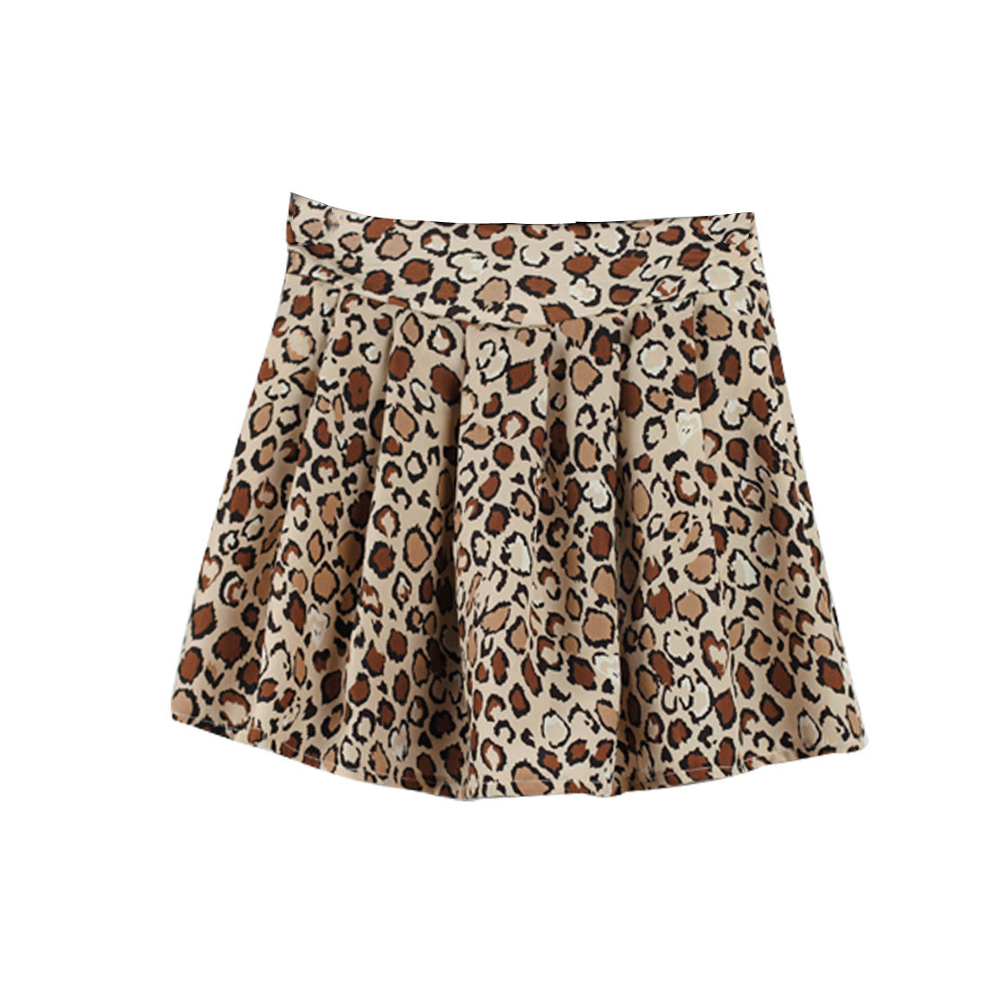 Ladies Apricot Elastic Waist Leopard Prints Casual Pleated Skirt Xs