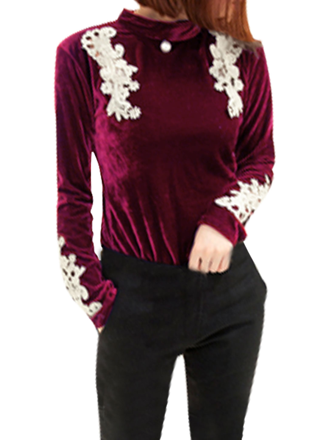 Woman Velvet Long-sleeved Button Closure Embellished Fashionable Shirt Burgundy Xs