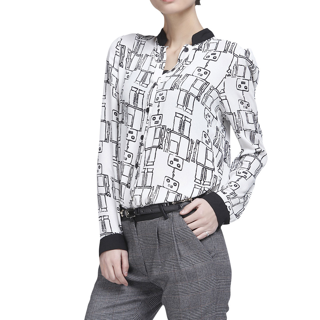 Ladies White Long SLeeve Single Breasted Robots Pattern Chiffon Shirt Xs