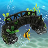 Resin Fish Tank Landscape Plants Rocky Aquarium Bridge Decoration Black Green