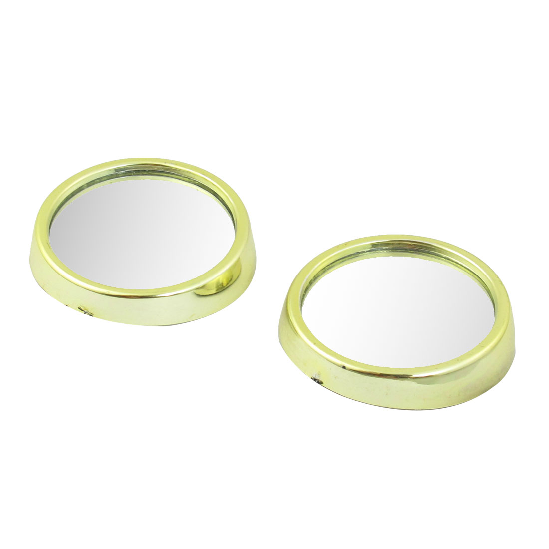2 Pcs Car Gold Tone Plastic Frame Wide Angle Round Blind Spot Mirror 47mmx12mm