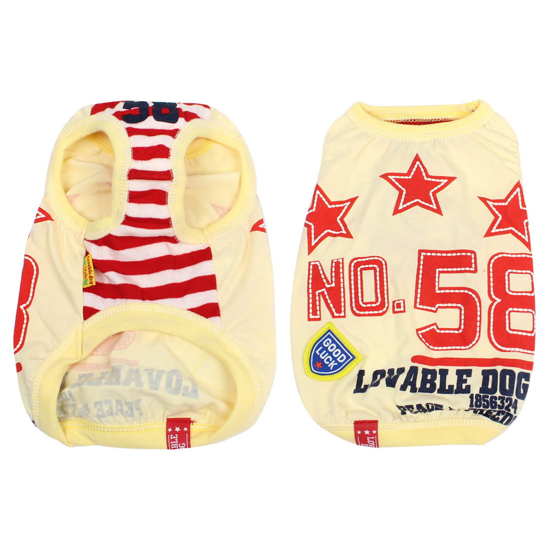 Letters Stars Pattern Round Neck Sleeveless Dog Cat Clothes Doggie Apparel Light Yellow M