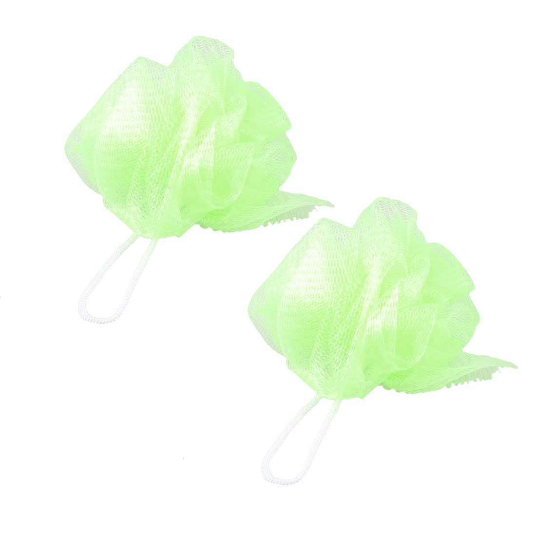 Bathroom Body Washing Shower Ball Shape Light Green Nylon Mesh Nets Pouf 2 Pcs