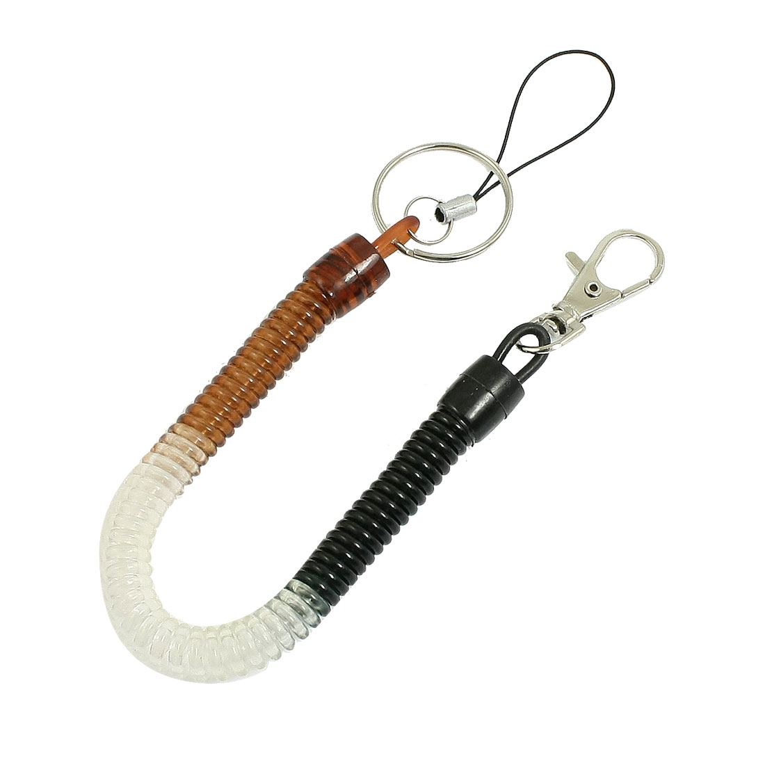 Lobster Clasp Stretchy Spring Coiled Strap Lanyard Keyring Black Brown Clear