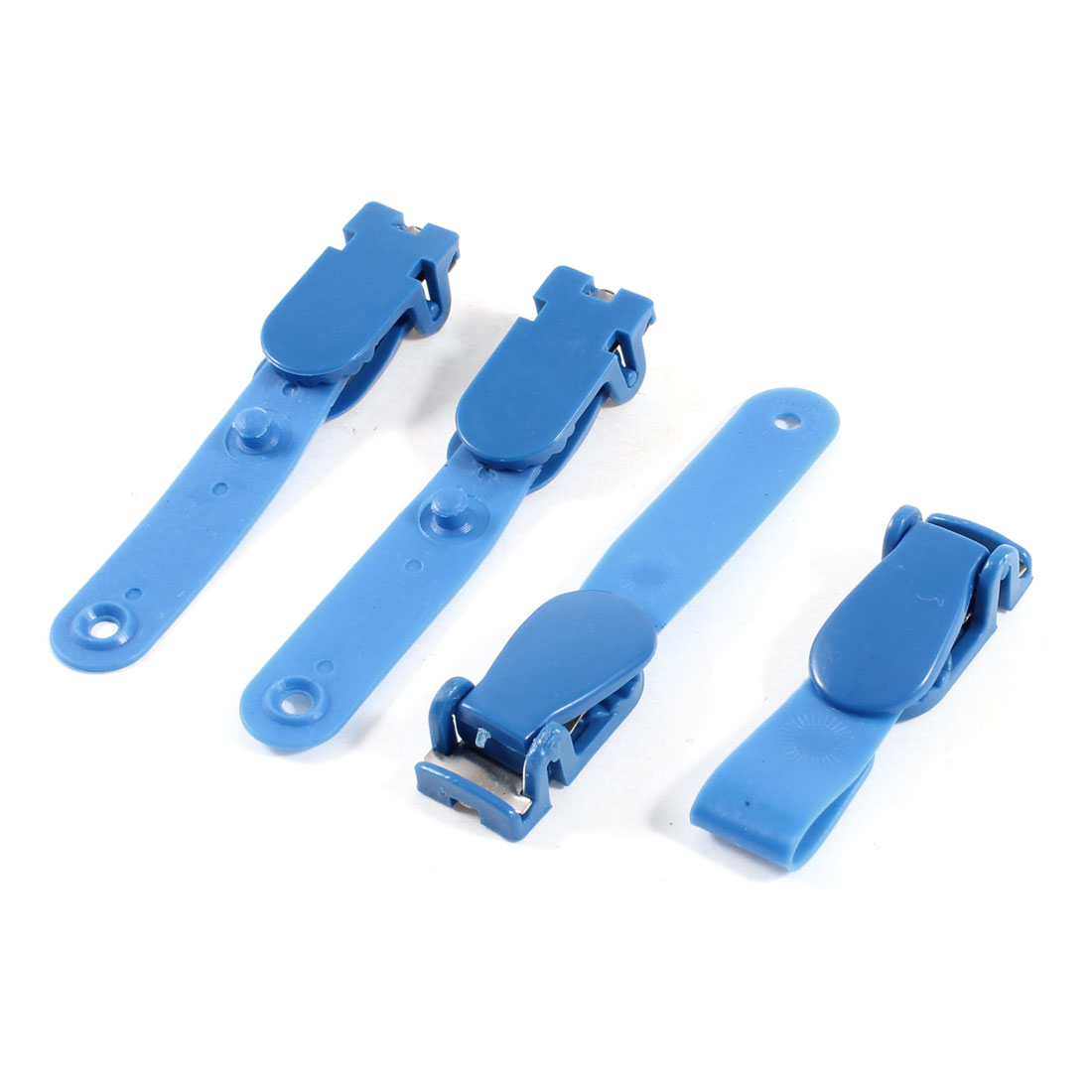 4 Pcs Blue Plastic ID Card Holder Name Badge Clips Clamps