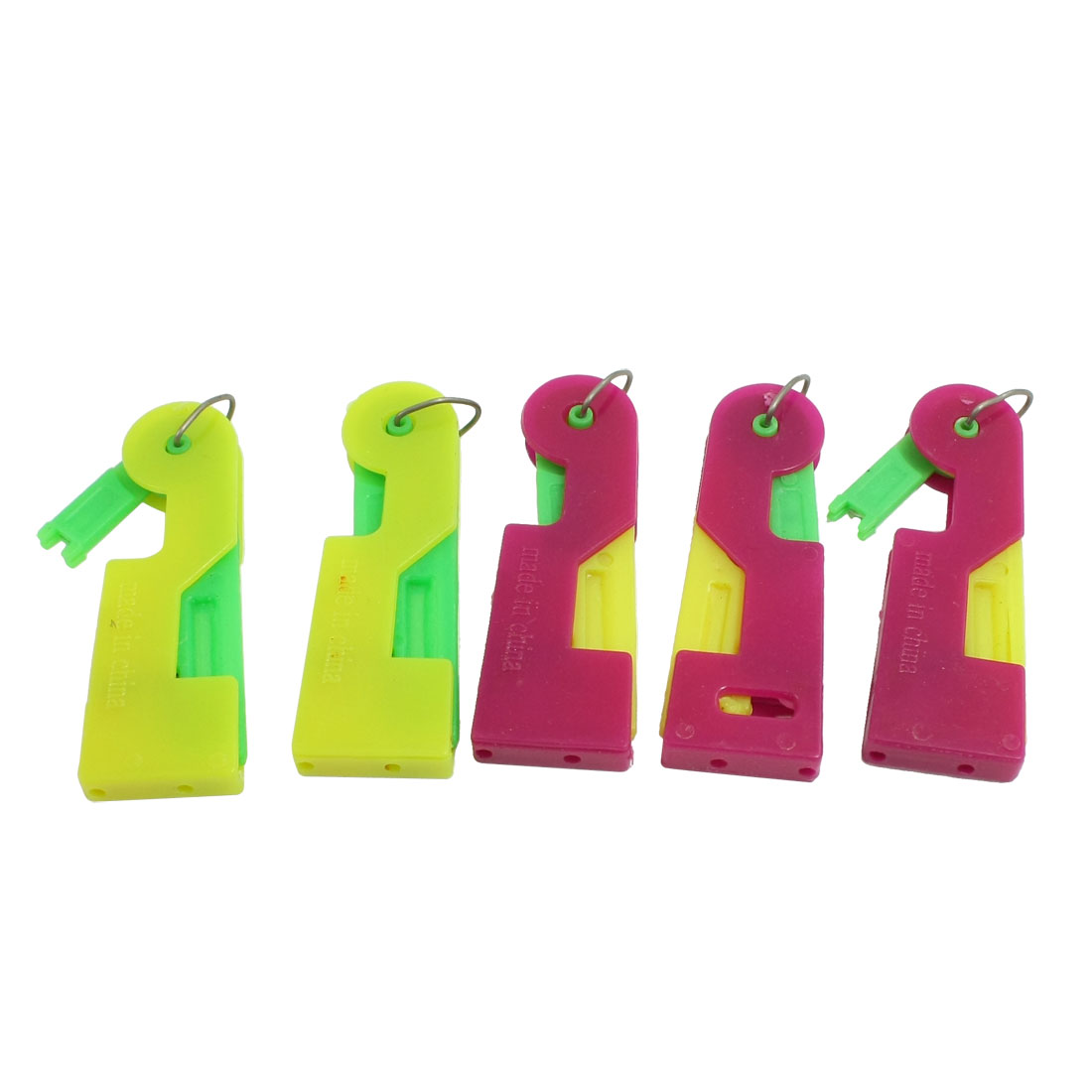 5 Pcs Fuchsia Green Yellow Plastic Housing Sewing Needle Threaders