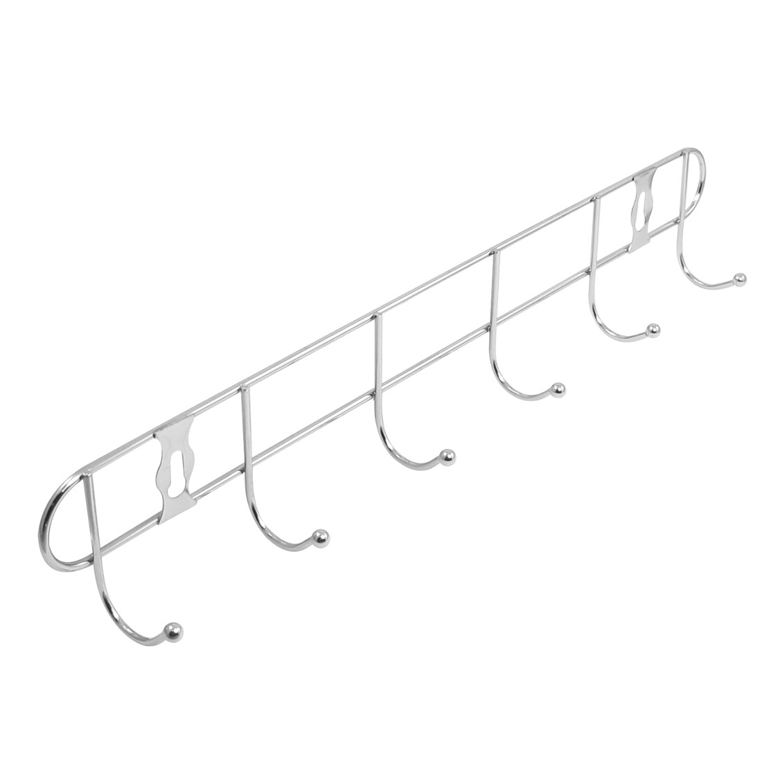 Bedroom Bathroom Clothes Towels 6 Hooks Wall Hanger Silver Tone