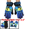 Men Fleece Lining Splodge Print Motorcycle Bike Winter Warm Gloves Blue Black Pair