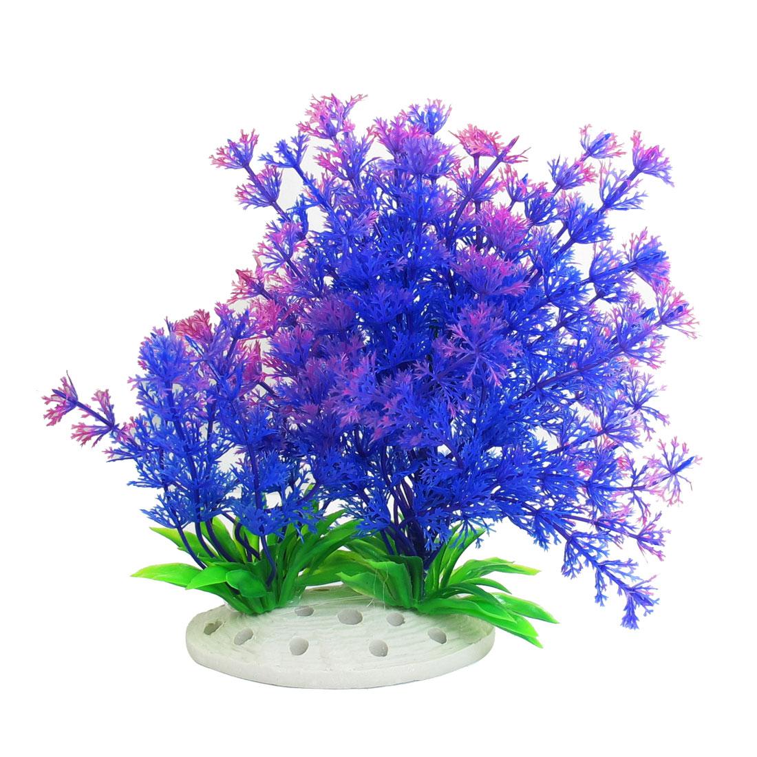 "6.7"" Height Purple Green Artificial Manmade Aquarium Decor Grass Plant"