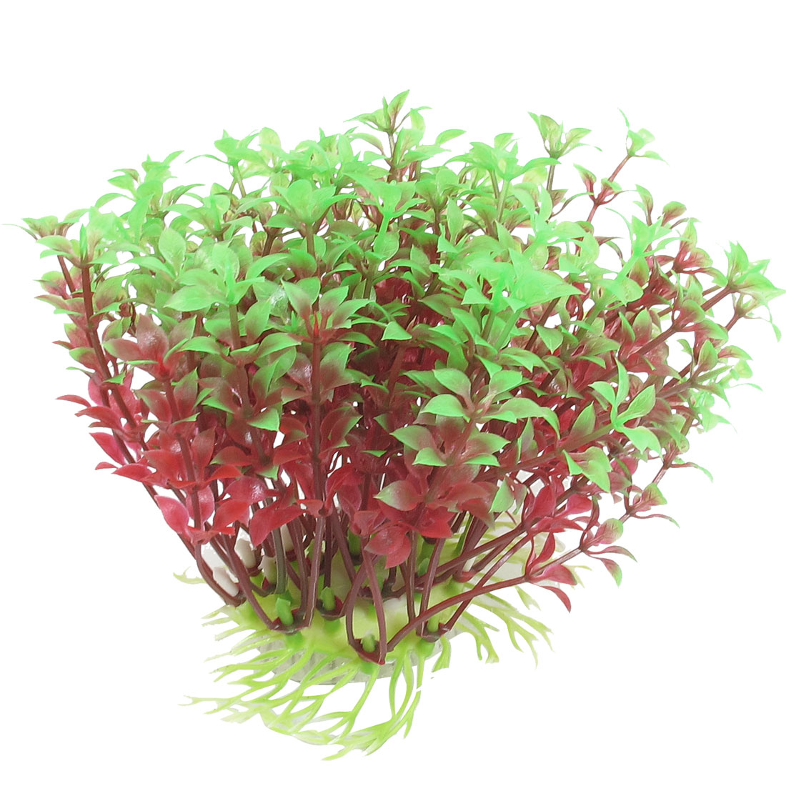 "Aquarium Tank Plastic Artificial Grass Plant Green Red 4.3"" Height"