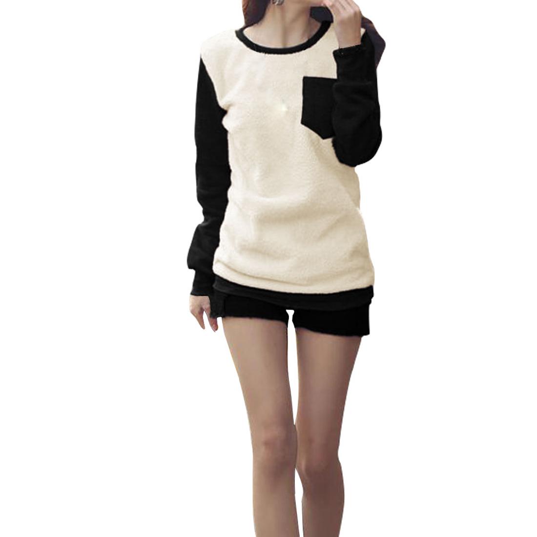 Ladies White Black Scoop Neck Ribbing Trimed Panel Winter Shirt Xs